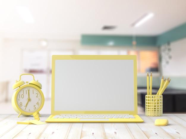 オフィスでのビジネスカードを使ってワークデスク木製テーブルのモックアップ、ラップトップ黄色。