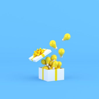 Mock up of light bulbs in a open gift box on blue background. 3d rendering.