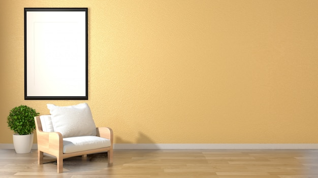 Mock up living room interior zen style with armchair frame and plants on empty yellow wall background.