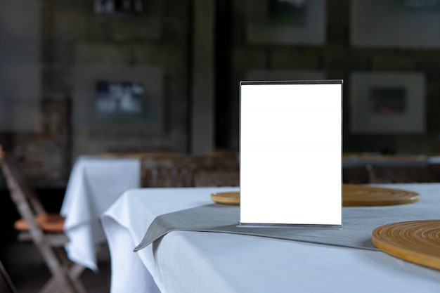 Mock up menu object in cafe and restaurant