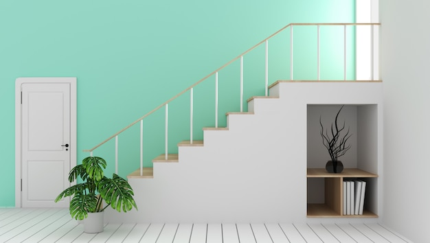 Mock up mint empty room with staircase and decoration,modern zen style