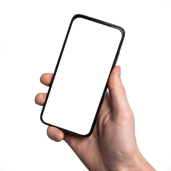 Mock up. man hand holding the black smartphone with frame less blank screen and modern frameless design, vertical-isolated on white background. 클리핑 경로. ui 디자인 인터페이스.