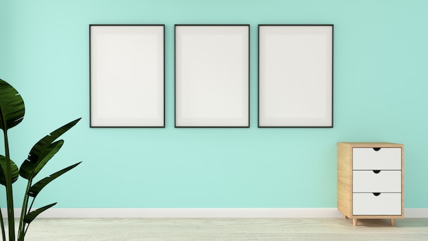 Mock up modern in mint living room with wooden floor. 3d rendering