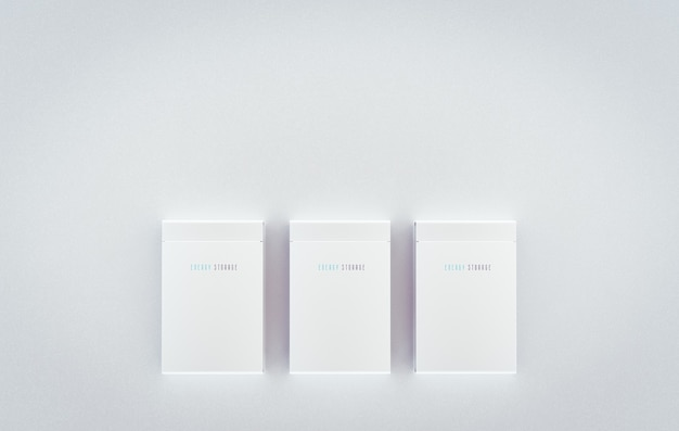 주거용 통합 배터리 에너지 저장 시스템을 조롱합니다. 깨끗한 벽에 여러 개의 현대적인 흰색 배터리가 장착되어 있습니다. 3d 렌더링.