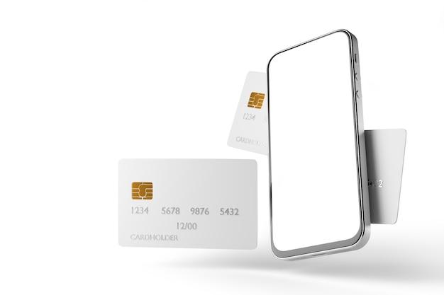 신용 카드와 명함 배경에 흰색 화면이 있는 스마트폰 모형. 전자 지불. 3d 렌더링