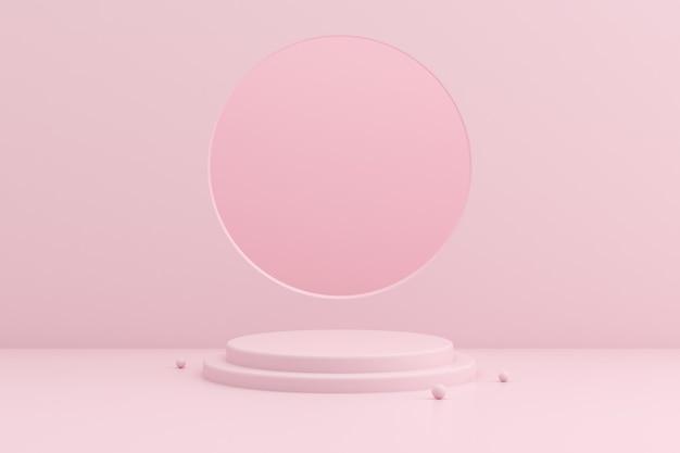 ピンク色の空間に幾何学的な表彰台のモックアップ。
