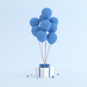 Макет подарочной коробке и воздушные шары в минималистском стиле.