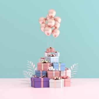 Макет подарочной коробки и воздушных шаров в минималистском стиле.