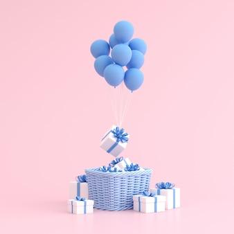 Макет подарочной коробке в корзину и воздушные шары.