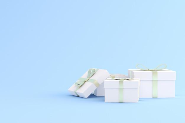 Макет подарочной коробке на синем пространстве.