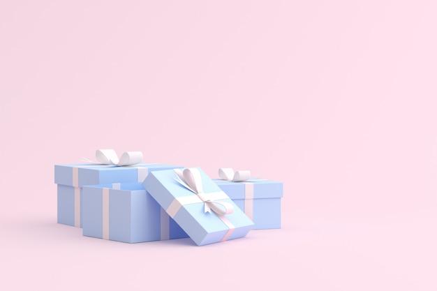 Макет подарочной коробке на розовом пространстве.