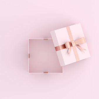 Макет открытой подарочной коробке на розовом пространстве.