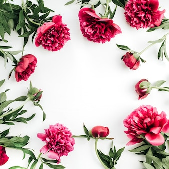 テキスト用のスペースを持つピンクの牡丹の花をモックアップします。フラットレイ、トップビュー