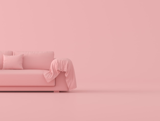 핑크 소파와 분홍색 배경, 최소한의 개념 스타일, 3d 렌더링에 주름이 천으로 시트를 비웃는 다.