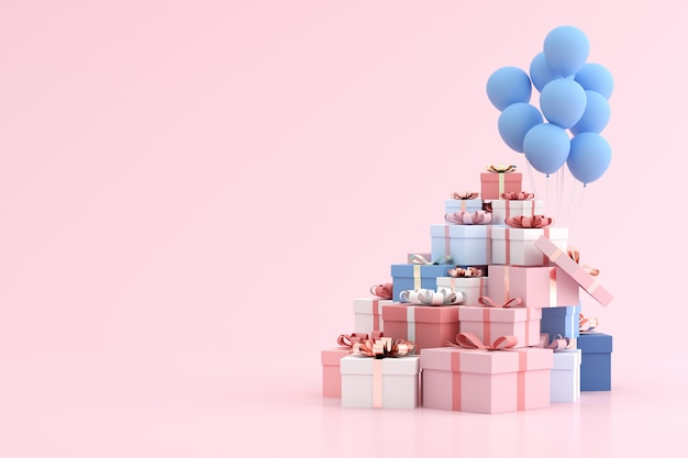 최소한의 스타일로 쌓인 선물 상자와 풍선을 비웃는 다.