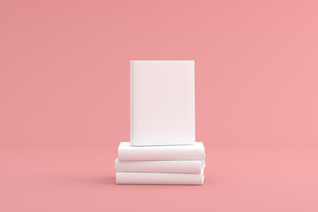누적 된 흰색 하드 커버 책을 비웃는 다.
