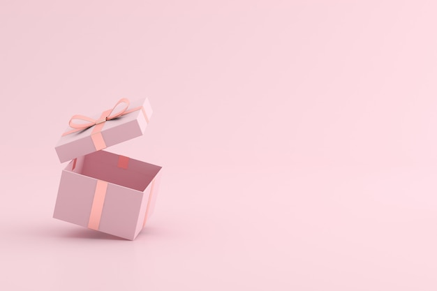 Mock up of open gift box on pink space.