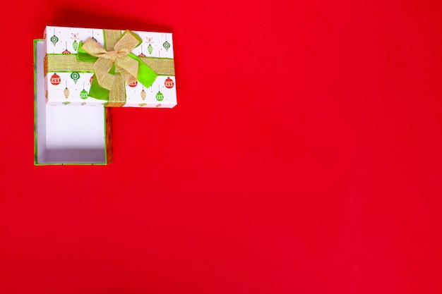 Mock up of an open green gift box