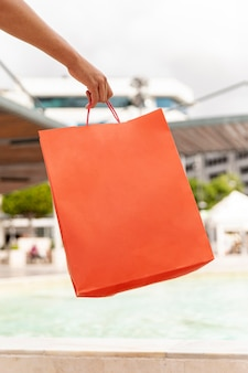 Mock-up orange blank shopping bag