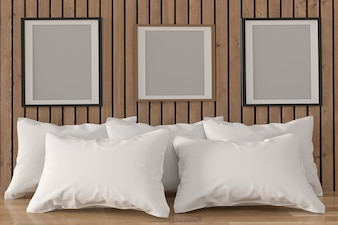 Mock up photo frame with white pillows in room interior in 3D rendering