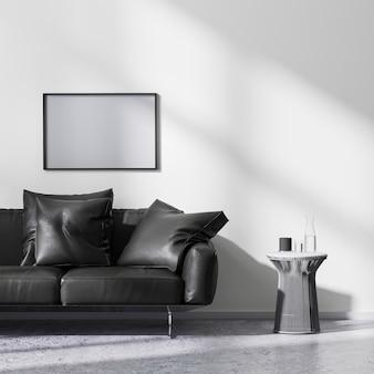 현대적인 미니멀리즘 스타일의 거실 인테리어, 3d 렌더링의 모의 사진 프레임