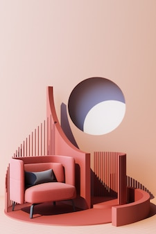 Mock up pink abstract studio fashion minimal geometric shape trend with pink armchair on podium platform. 3d rendering vertical frame