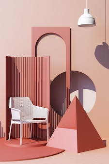 Mock up pink abstract studio fashion minimal geometric shape trend with white chair on podium platform. 3d rendering vertical frame