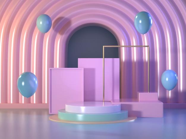Mock up podium abstract scene.pastel podium scene.