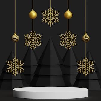 製品プレゼンテーションのモックアップ表彰台抽象的な最小限の概念クリスマスと新年