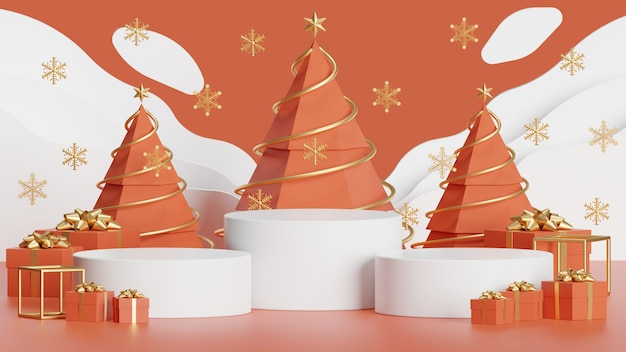 제품 프레젠테이션 추상적인 최소한의 개념 크리스마스와 새해를 위한 모의 연단
