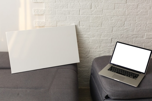 Mock-up poster. blank primed canvas, white interior.