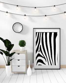 Mock up poster cabinet modern in white living room