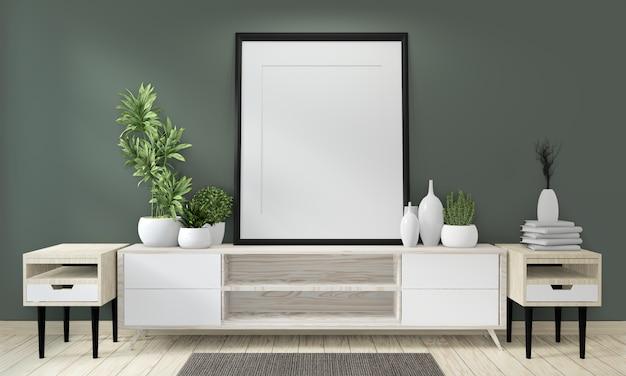 Mock up poster cabinet wooden on green room living japanese design