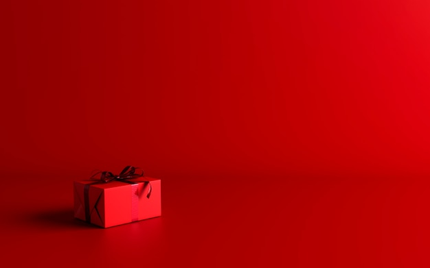 Mock-up poster, dark red colored gift box with red bow on dark red background, 3d render, 3d illustration
