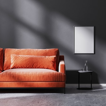 Mock up poster frame on black wall with sun rays with red sofa with black coffee table, raw concrete floor, 3d rendering