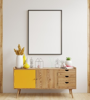 Mock up poster frame on cabinet in interior,white wall.3d rendering