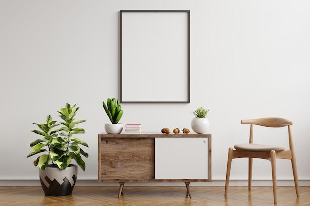 Mock up poster frame on cabinet in interior