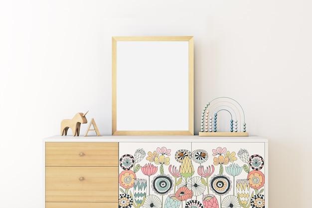 Mock up poster frame in children room boho style