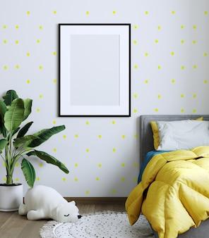 Mock up poster frame in children room, kids room, nursery mockup, yellow wall. 3d rendering