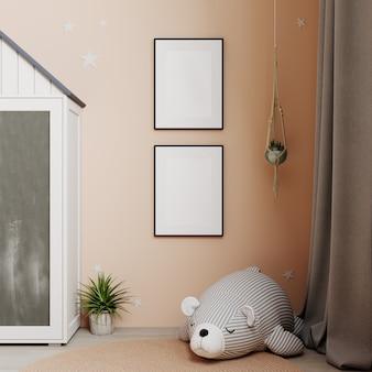 Mock up poster frame in children room, kids room,nursery mockup