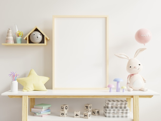 Mock up poster frame in children room,kids room,nursery mockup