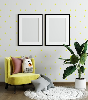 Mock up poster frame in children room, kids room with yellow chair, mockup