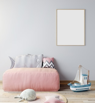 Mock up poster frame in children room, scandinavian style interior background with pink sofa, 3d rendering, 3d illustration