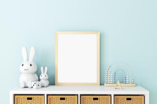 Mock up poster frame in children room scandinavian style