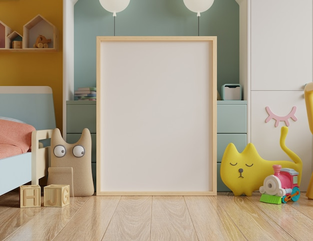 Mock up poster frame in children's room