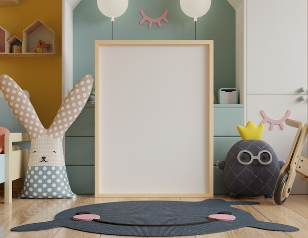 Mock up poster frame in children's room