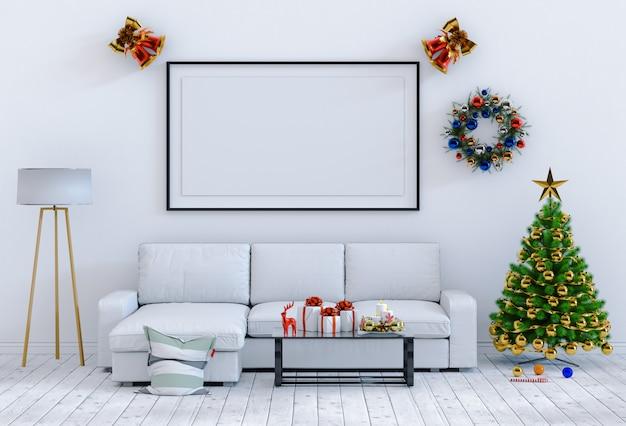 포스터 프레임 크리스마스 인테리어 룸을 비웃는 다. 3d 렌더링