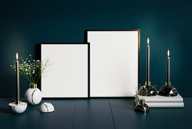 Mock-up poster frame in dark classic interior background, modern style,3d render, candlelight