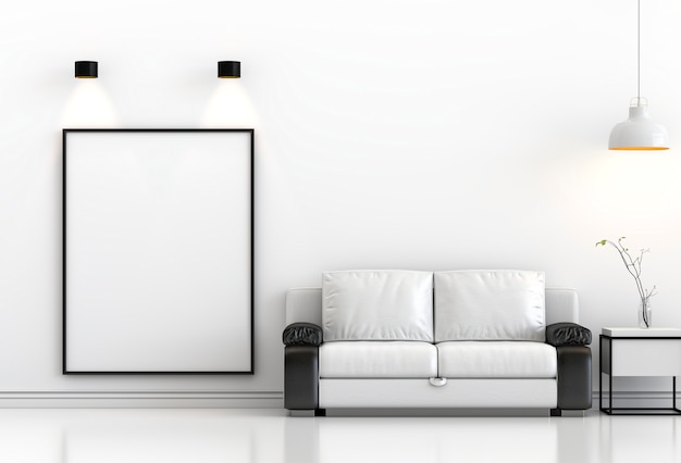 Mock up poster frame in hipster interior modern living room background