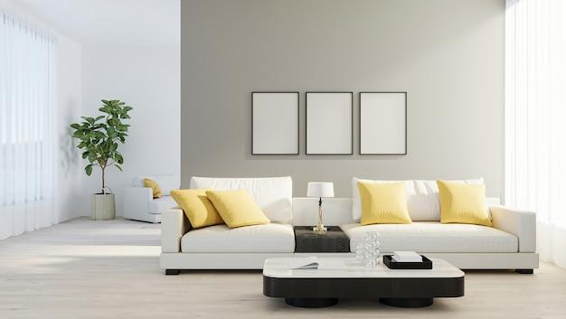 나무 라미네이트에 흰색 소파, 램프, 녹색 식물이 있는 밝고 현대적인 거실에서 포스터 프레임을 비웃습니다. 스칸디나비아 스타일, 아늑한 인테리어 배경. 밝고 세련된 객실 모형. 3d 렌더링